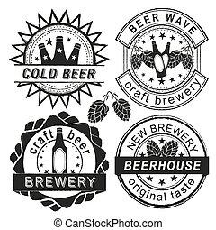 Vintage brewery logo, emblems and badges vector set.