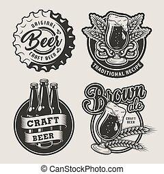 Vintage brewing logos set