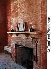 Vintage brick fireplace