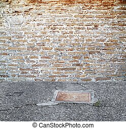 vintage brick wall setting