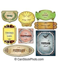 Vintage bright labels  for your design. Vector set