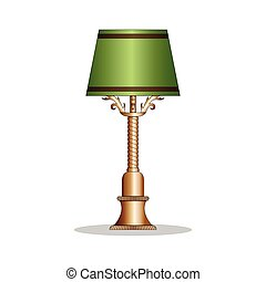 Vintage bronze desk lamp with the green lamp shade.
