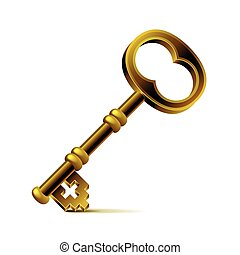 Vintage bronze key isolated on white vector - Vintage bronze...