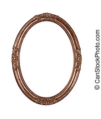 Vintage bronze oval round picture frame