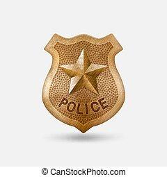 Vintage bronze Police badge with star. Vector illustration
