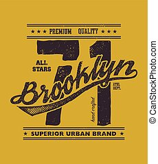 vintage brooklyn typography, t-shirt graphics