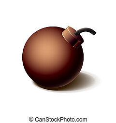 Vintage brown bomb icon, isolated on white