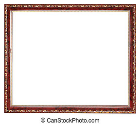 vintage brown decorated wooden picture frame with cut out...
