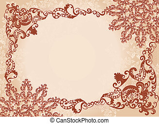 vintage  brown frame on a beige background
