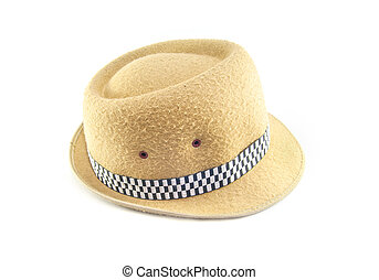 Vintage brown hat on isolated white background