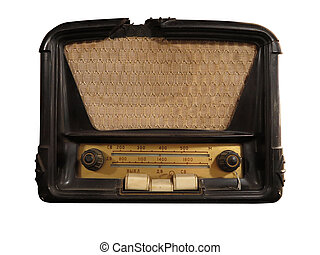 Vintage brown old radio receiver isolated - Vintage brown...