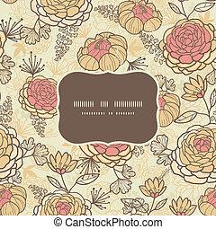 Vintage brown pink flowers frame seamless pattern background