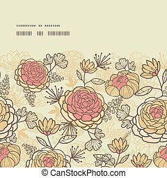 Vintage brown pink flowers horizontal frame seamless pattern background