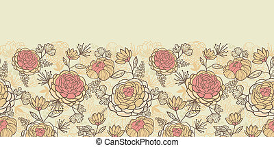 Vintage brown pink flowers horizontal seamless pattern background