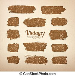 Vintage brush strokes - Collection of vector vintage brush...