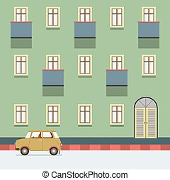 Vintage Building With A Car Parking At The Street Vector Illustration