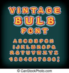 Vintage bulb font. Glowing letters. Retro Alphabet with lamps. Glittering lights pointer lettering