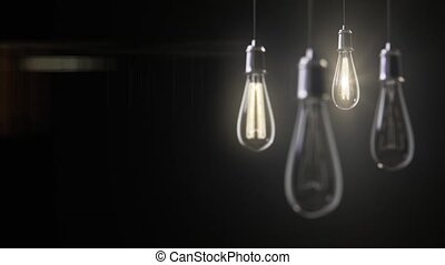 Vintage bulb lights 3d animation - Group of vintage bulb...