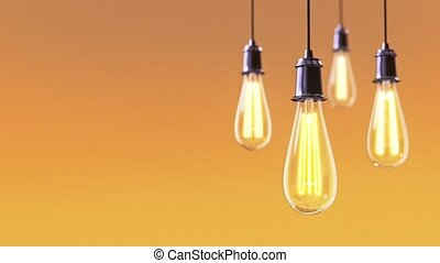 Vintage bulb lights 3d animation