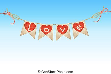 vintage bunting with hearts and love word on blue sky. vector
