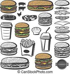 Vintage Burger Elements Set