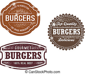 A collection of vintage style hamburger graphics.