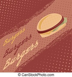 Vintage burgers vector poster