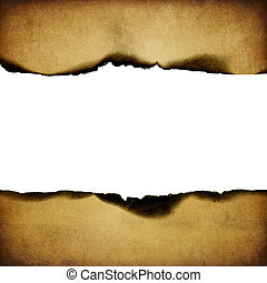 Vintage burned paper background, centerline isolated