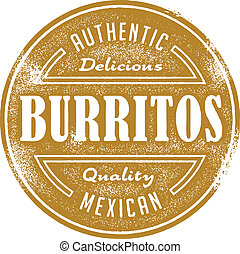 Vintage style menu design stamp. Authentic Mexican burritos.