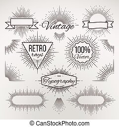 Vintage burst shape decoration for typography, retro stars light ray, sunshine sketchy radiant lines vector collection