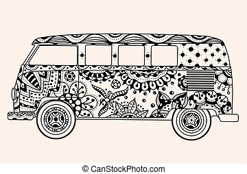 bus Black, beige color - Vintage bus Black, beige color. ...