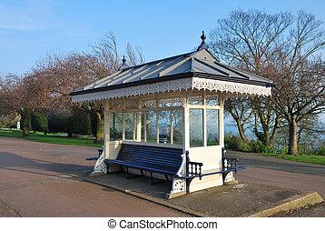 vintage bus shelter