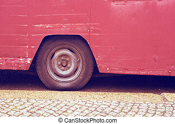 vintage bus wheel