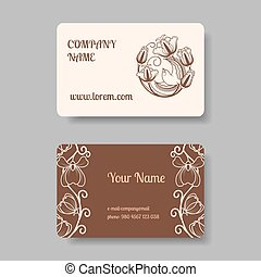 Vintage business card collection with floral ornament....