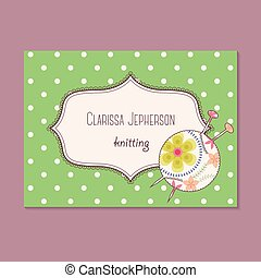 Vintage business card for knitting