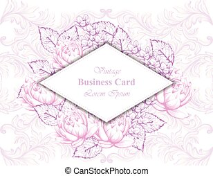 Vintage business card with floral frame and ornaments Vector