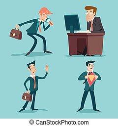 Vintage Businessman Characters Set Icon on Stylish Background Retro Cartoon Design Vector Illustration