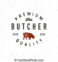 vintage butchery logo. retro styled meat shop emblem. vector...