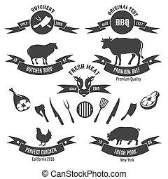 Vintage butchery shop labels