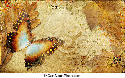 Vintage Butterfly Background. - Artistic Picture in Painting...