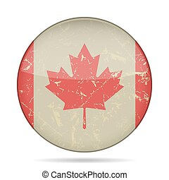 vintage button flag of Canada - grunge style