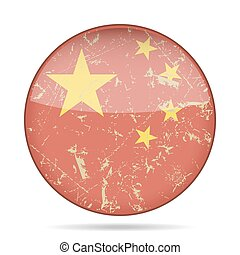 vintage button flag of China - grunge style