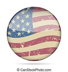 vintage button waving flag of USA - grunge style