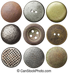 Vintage buttons - Vintage metal sewing buttons, isolated