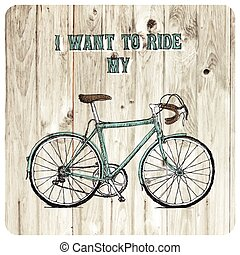 Vintage bycicle hand drawn poster