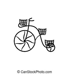 Vintage bycicle silhouette on the white background. Vector...