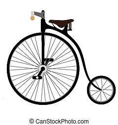 Vintage bycicle. Vector cartoon illustration isolated on white background.