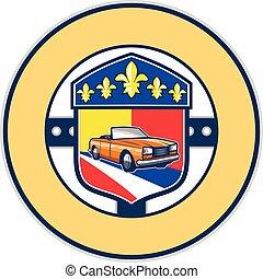 Vintage Cabriolet Fleur-de-Lis Crest Circle Retro