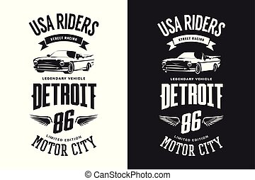 Vintage cabriolet vehicle black and white isolated t-shirt vector logo.