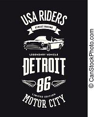 Vintage cabriolet vehicle t-shirt vector logo on dark background.